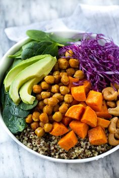 These protein packed vegan buddha bowls are loaded with colorful veggies, sweet potatoes, roasted chickpeas and cashews, all topped off with a creamy tahini dressing. An easy recipe that's loaded with nutrition!