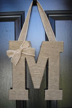 Twine Monogram Door Decor With Burlap Bow  Made to by DreamThread, $25.00