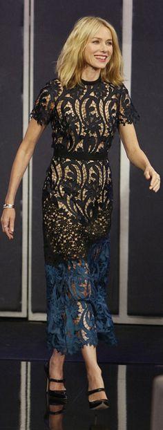 Who made Naomi Watts' blue and black lace dress?