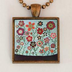 Retro Flower Pendant Necklace Bohemian Boho Flowers Handmade Jewelry. $12.99, via Etsy.