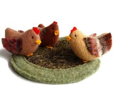 Chickens,waldorf wool toys. $54.00, via Etsy.  Yep--I can make these...:
