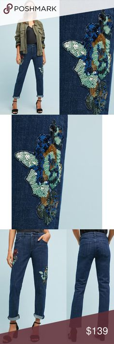 """NWT ANTHROPOLOGIE Midrise Boyfriend Sequin Jeans Brand new with tags NWT ANTHROPOLOGIE Pilcro Mid-Rise Sequin Embroidered Jeans. Embellished florals, this classic pair of jeans provides a  slim fit through the hip with a relaxed calf and cuff-able hem. Size 25 Color Denim Light Cotton, lyocell, elastic Slim fit Sequin detail Five-pocket styling Front zip Machine wash Imported Dimensions    Regular: 9.5"""" rise and 29.5"""" inseam Photo credit to Anthropologie Anthropologie Jeans"""