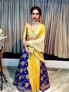 Blue and yellow lehenga Indian Lehenga, Banarasi Lehenga, Anarkali, Ghagra Choli, Sharara, Patiala, India Fashion, Ethnic Fashion, Asian Fashion