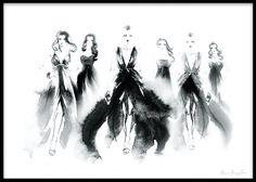 Print med kvinnor / modeller på en catwalk. Denna snygga fashion poster är målad i akvarell. Mode print som passar fint i tavelram. Tavlor och planscher med mode och fashion illustrationer.