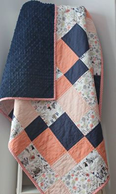 Coral baby quilt baby quilts handmade coral and navy nursery homemade quilts modern baby quilt forest animal nursery crib bedding Baby Girl Quilts, Quilt Baby, Girls Quilts, Quilting Projects, Sewing Projects, Quilting Designs, Navy Quilt, Homemade Quilts, Handmade Baby Quilts