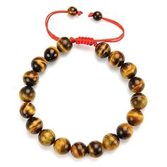 Cat Eye Jewels 10mm Natural Tiger Eye Bracelet Lucky Prayer Mala Buddha Red String Bracelet YD-H002. Free Gifts: Buy one tiger eye bracelet will get one Chinese style Feng Shui Coin bracelet/ anklet,. Material:AA Natural Tiger eye stone ,19pcs 10mm beads +2 pcs 6mm charm beads. Size:stretchable & mini inner diameter: 6.0cm; one size fits more wrist ,Weight:29.6g. 30 days Free Reason Return! Packed with high quality gift bag &free 2-days fast shipment for prime members. Tiger's Eye is a stone…