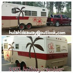 1971 holiday rambler camp trailer a.k.a. the Hula Hideaway. This is the 'after' paint job.  Keywords: Vintage, glamping, idaho, holiday vacationer, camping, exterior paint, rv, camp trailer, vintage camper, luau, hawaiian, tropical, beach, island, glamper, vintage camper