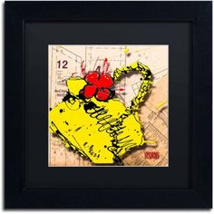 Trademark Fine Art Flower Purse Red on Yellow Canvas Art by Roderick Stevens, Black Matte, Black Frame, Archival Paper, Size: 11 x 11
