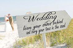 Beach Wedding Signs Wedding Decorations ARROW 24x8 -$34.95