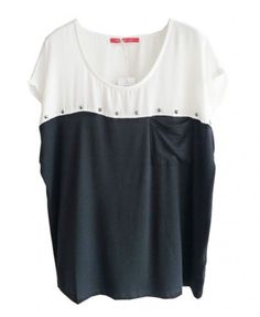 Punk Studded T-shirt in Color Block - T-shirts & Tanks - Clothing