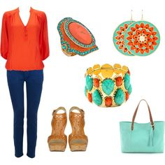 spring coral and turquoise by kap-1105 on Polyvore