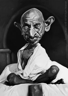 """""""Pravá láska je ta, v níž máme větší radost z druhého než ze sebe."""" Mahátma Gándhí- karikatúra, digital painting, A3"""