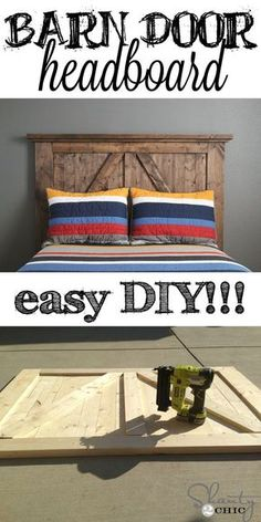 Super EASY Barn Door Style Headboard! Click for simple instructions. I love this bed :) #diy #headboard by bethany