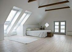 Awesome All white Master Bedroom Design Ideas Attic Apartment Attic Master Bedroom, Attic Bedrooms, Bedroom Loft, Master Bedroom Design, Dream Bedroom, Bedroom Decor, Bedroom Furniture, Attic Design, Interior Design