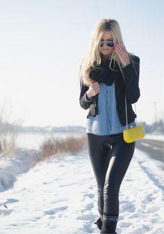 leather leggings & bright yellow purse