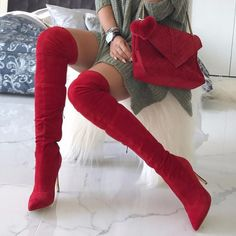 Red Pointed Toe Knee-High Heeled Boots Thigh High Boots Heels, Black High Heels, Heeled Boots, Shoe Boots, Ankle Boots, Women's Boots, Red Knee High Boots, High Shoes, Trend Fashion