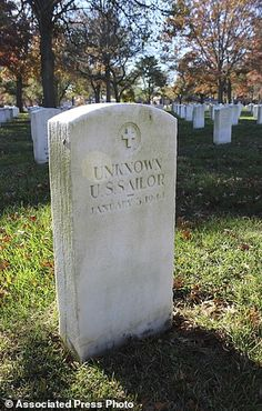 FILE- This Nov. 11, 2016, file photo shows a gravestone with the inscription UNKNOWN U.S. SAILOR at Long Island National Cemetery in Farmingdale, N.Y. More than 130 victims of the USS Turner¿s 1944 explosion and sinking in New York Harbor are still officially missing. Yet WWII researcher Ted Darcy found papers last year indicating at least a few were buried in the Long Island military cemetery, and he believes the rest could be there too. (AP Photo/Frank Eltman, File)