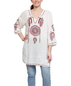 Look at this White Embroidered Medallion Tunic - Plus on #zulily today!