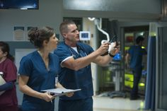 "THE NIGHT SHIFT -- ""Storm Watch"" -- (Photo by: Lewis Jacobs/NBC) Pictured: Jeananne Goossen as Krista and Brendan Fehr as Drew"