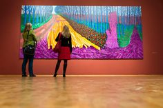 "Visitors view the painting ""Winter Timber"" by British artist David Hockney in the exhibition ""David Hockney - A Bigger Picture"" at the Museum Ludwig in Cologne, Germany,"