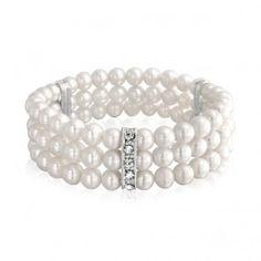 Pearl Bracelet Stretch Triple Strand AA Round White Freshwater Pearl