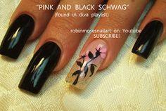 Nail-art by Robin Moses: pink and black diva nails, diva nails, diva schwag, pink flower nail, long black nails, easy flower nail, dot nails...