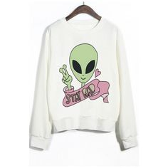 Crew Neck Ribbed Sleeves Alien Print Graphic Sweatshirt (38 CAD) ❤ liked on Polyvore featuring tops, hoodies, sweatshirts, long sweatshirt, crew-neck sweatshirts, white sweatshirts, crew neck sweatshirts and graphic tops