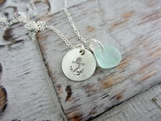 Sterling+Silver+Anchor+Necklace+with+Sea+Glass+by+BeachCoveJewelry