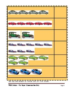 FREE Cars File Folder Games Math Subtraction