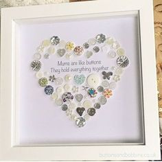Mum Heart Button Picture / Print A beautiful button Heart and ideal gift for a mum, let her know how appreciated she is. The print reads Mums are like buttons, they hold everything together. COLOURS: I have lots of button colours available please choose from the variations. If