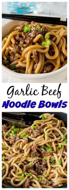 Garlic Beef Noodle Bowls – an Asian style noodle bowl with lots of garlic, that is ready in just minutes! Great for busy nights. Recipes With Beef Strips, Quick Beef Recipes, Recipes With Mince, Meals With Mince Beef, Beef Skirt Recipes, Meals With Steak, Minced Beef Recipes Easy, Sliced Beef Recipes, Thin Steak Recipes