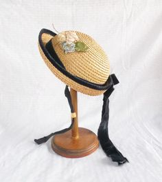 1950's Vintage Girl's Straw Hat with Flowers by MyVintageHatShop, $34.00