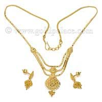 Gold Necklace And Earring Set 22 Karat Halsband Set 18d84132db917