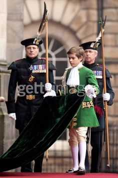 Arthur Chatto acting as Page of Honour to his great aunt, Queen Elizabeth II, at the Order of the Thistle ceremony, July 2012, Edinburgh, Scotland. Arthur is the son of Lady Sarah Chatto, grandson of Princess Margaret.
