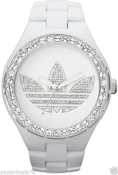 RARE ADIDAS LOGO WATCH LARGE FACE CRYSTALS GLITZ BLING HOT ! NEW $175 MEN'S NEW  #Adidas #Fashion