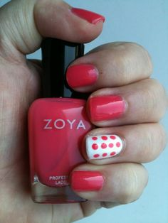 Polka dot accent nail with Zoya Maya and Snow White shared via Twitter