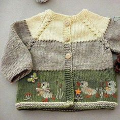 Baby cardigan with Crochet , Knitting pattern baby cardigan.Baby cardigan with Knitting pattern baby cardigan.Baby cardigan with Babystrickanleitunge. Baby Knitting Patterns, Knitting For Kids, Baby Patterns, Hand Knitting, Crocheting Patterns, Baby Sweater Knitting Pattern, Paper Patterns, Baby Clothes Patterns, Knitting Ideas