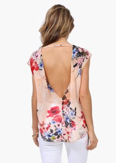 floral print backless top