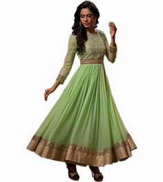 Indian Designer Light Green Georgette Anarkali Churidar Kameez