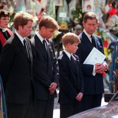Princess Diana's Funeral coffin leaves Westminster Abbey with Prince Charles Prince Harry Prince William, Diana's brother