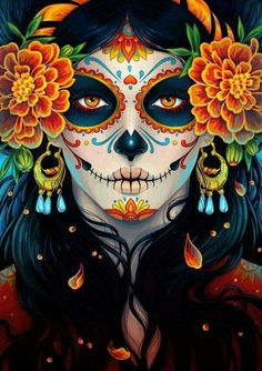 "La Catrina illustration by Maria Dimova from ""How to Create a Vibrant Day of the Dead Portrait in Adobe Illustrator"" on envatotuts+ La Muerte Tattoo, Catrina Tattoo, Maquillaje Sugar Skull, Los Muertos Tattoo, Candy Skulls, Sugar Skulls, Candy Skull Makeup, Skeleton Makeup, Sugar Skull Halloween Makeup"