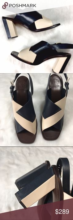 Tory Burch Bleecker Street Geometric Heel Sandal These navy and cream sandals are EVERYTHING! Minimalism at its best, featuring buttery soft leather uppers, logo buckles, and leather soles. Absolutely gorgeous. Tory Burch Shoes