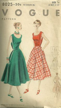 Easy to Make Wrap Dress Pattern Vintage 50s Vogue 8025 by mbchills