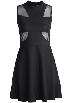 Black Contrast Gauze Pleated A Line Dress US$20.79