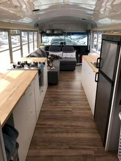 49 Awesome Bus Camper Interior Ideas - Yellowraises 16 Best Tiny House & Bus Conversion Size guide for bus conversion - rolling prospectsSchool Bus Conversion Definitive Size Chart: What Length Is Skoolie Suitable For You? School Bus Tiny House, School Bus House, Bus Camping Car, Rv Bus, Bus Remodel, Bus Interior, Interior Ideas, Motorhome Interior, Interior Plants