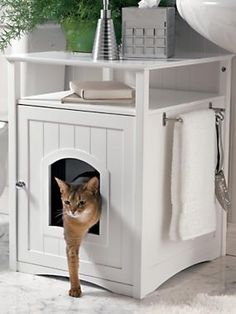 Kitty Washroom Cabinet - Litter Box Cover looks like furniture | Solutions
