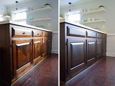 How to stain cabinets a darker, less orangey color - used Minwax PolyShades Stain in Tudor Satin.