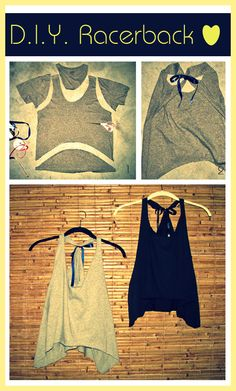 "DIY Racerback Top : DIY Tank Top, DIY Jersey Tank Top, DIY Crop Top | Chic Factor Gazette. I actually really like them with the ribbon - despite not being a ""racerback fan""."
