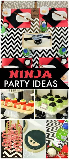 A ninja birthday party for twin boys with themed food and take out boxes filled with party favors! See more party planning ideas at CatchMyParty.com!