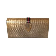 Gucci Basket Weave Gold Tone Metal Minaudière from the 1970's | From a collection of rare vintage handbags and purses at http://www.1stdibs.com/fashion/accessories/handbags-purses/